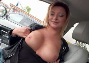 Euro babe Anna Polina bares her beautiful boobs in a car and then takes off her blue jeans indoors. She spreads her pink pussy open on cam and then flaunts her shapely ass