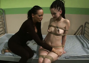 Brunette honey Gina Lorenzza with massive tits and Mandy Bright play with each others love melons before it comes to pussy fingering