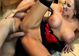 Danny D plays hide the salamy with Rebecca Moore with juicy breasts in anal action