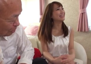 Much older man gets to bang a sexy Japanese girl on his couch