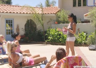 A group of hawt girls acquire naked by the pool and have some joy