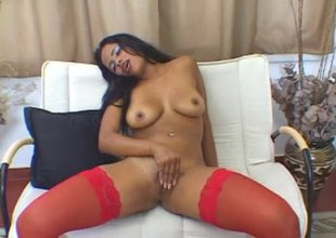Sexy red stockings on this naughty masturbating black girl