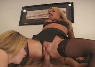 Two feisty blondes Christie Lee and Chelsea Zinn take part in a threesome
