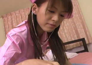 Lusty oriental nurse gives her patient a damn good oral pleasure