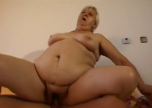 Old disgusting fatso sucks lollicock and gets pounded doggy style