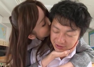 Rina Rukawa in panties fondles her student does blowjob and pinned