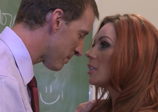 Horny milf with big tits gets bent over then fucked doggy style in a classroom