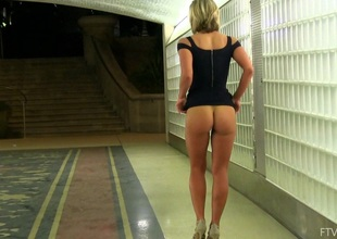 Additional hot non-professional blonde in a sexy black dress teases in public