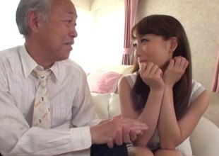 Old Japanese guy buries his jock in her teen pussy