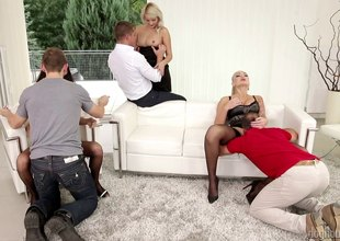 Amazing brunettes finds it rough in a hardcore groupsex.