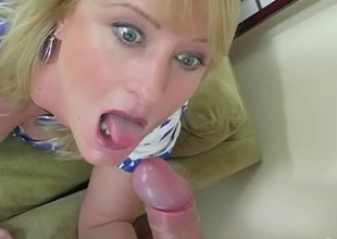 Pretty blonde sucks some pussy while getting hers nailed thoroughly in a FFM sex
