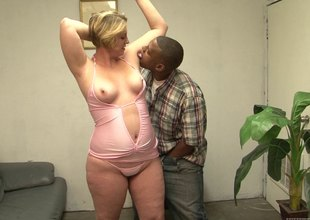 BBW blond mama is addicted to black dudes and their big cocks