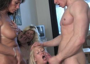 Four horny sluts do one lucky dude