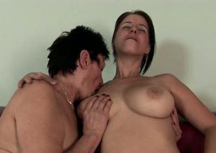 Busty brunette gal Anastasia bonks slutty lesbian granny