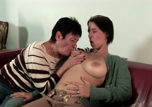 Playful brunette honey Anastasia enjoys bawdy cleft licking with a lesbian granny