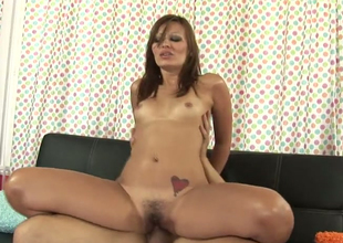Attractive hussy Crissy Moon opens her hairy pussy for hard dick
