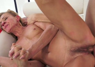 Horny aged Katherin gets her ruined snatch banged well