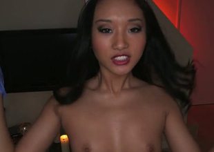 Torrid Oriental nurse swallows big load with pleasure in arousing POV video