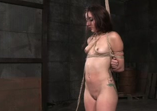 Naughty brunette doxy with small titties Mandy Muse is finger fucked in BDSM porn movie scene