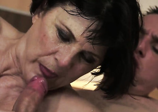 Margo T. warms man up and takes his meat stick