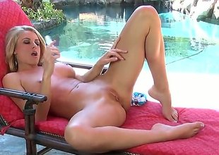Randy Moore groans as this babe fucks herself with vibrator