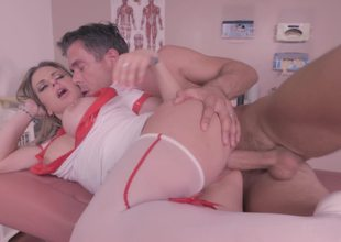 A hot nurse is getting on her knees to give a blow job to a patient