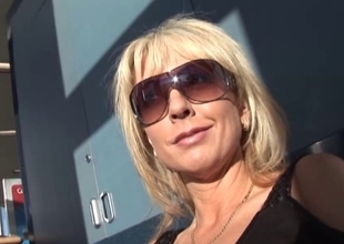 Blonde MILF pornstar Alysha in a group sex