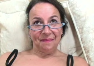 Hairy mature amateur with large tits likes young darksome cock and facual cumshots