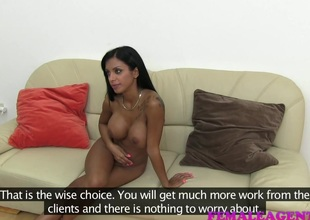 Tanned babe with amazing tits in porn audition
