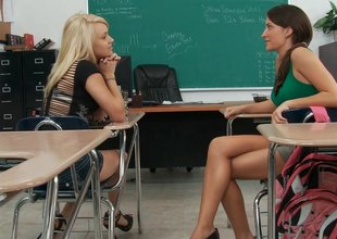 Old teacher examing Lizz and Tegan