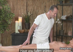 Blonde screwed and spunked on massage table