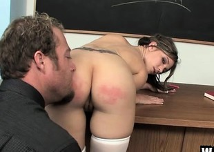 Naughty schoolgirl with a sexy body acquires fucked hard for bad behaviour