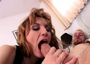 Wild lady with big natural milk shakes sucks a lengthy rod and gets drilled hard in both holes
