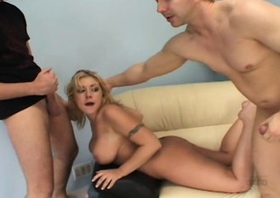 Busty blonde mom Velicity Von enjoys a hot threesome and her face gets covered with cum