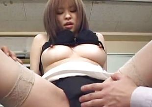 Asian office beauty teased and fucked