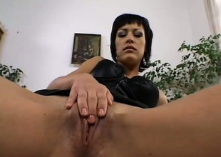 Vanessa has fun with a sex-toy before two hung dudes deeply bang her holes