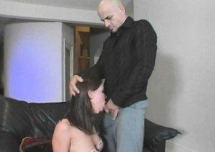 Dirty playgirl in fishnets gives an older man everything she's got