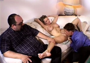 Busty blond wife has a chap satisfying her desires in front of her man