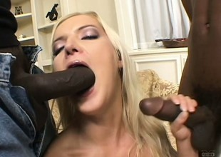2 insatiable darksome fuckers have a fun banging a slutty golden-haired babe
