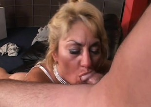 Fat granny blows his pecker and gets it jammed in her big ass