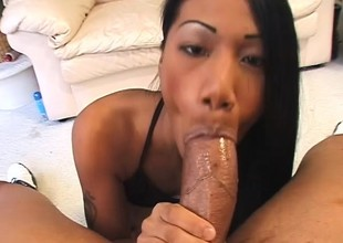 Charming Asian girl graduates from marital-aids and makes it to big meat