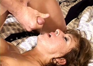 Older snatch loves to have three guys fuck her at the same time