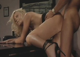 Hannah Harper gets her tight holes banged by her horny boss' dick