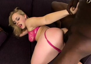 Skinny-fat blonde slut puts her undies to a side for a black cock