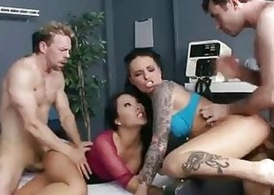 Groupie girl & hospital nurse start fuckfest with two band members