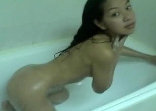Voyeurs will delight on this marvelous young thing in the shower. Watch her sexy skinny body as water lovingly pelts her luscious body. She goes down on all fours almost beckoning us to bang her small tight pussy. She looks positivily fuckable in her birthda