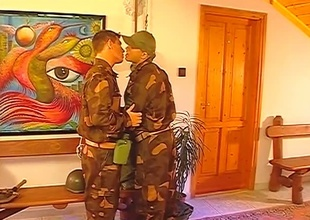 After the setup, this Thirty minute group-sex scene really takes off.  2 guys in uniform pay due respect to their superior officer, and the result is three big cocks being sensually worshiped until the final frame.  Rank tends to go out the window when anal