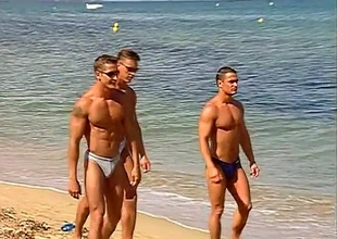 The dudes on this beach side boardwalk begin out just glancing around and smiling, but then a spontaneous dance party kicks off, and nobody's looking away.  Buff butts, cut torsos and full jocks adorn the boardwalk, until the boys decide to receive to know ea