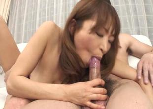 Japanese with sexy milk sacks amazes with blowbang
