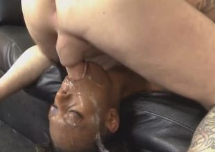 Darksome Angel Getting Her Face Wrecked By White Dick